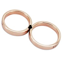 Cuores Insieme Oro rosa 925 sterLinea d'argento Matching Couple Anelli