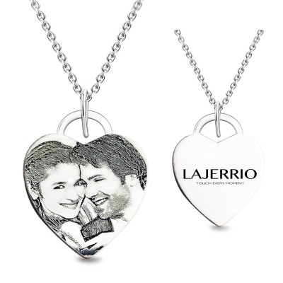 S925 Cuore personalizzata Foto Inciso Collana (Catenas Not Included)