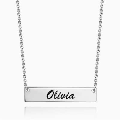 Personalized Engravable Argento Bar Collana