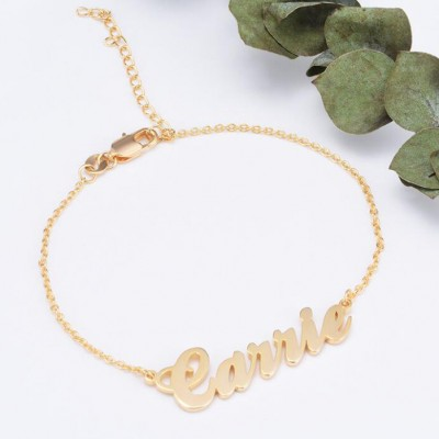 925 Argento sterling Oro Personalized Braccialetto con nome - Length Adjustable