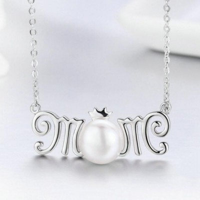 Regalo for Mom 925 Argento sterling Pearl Collana
