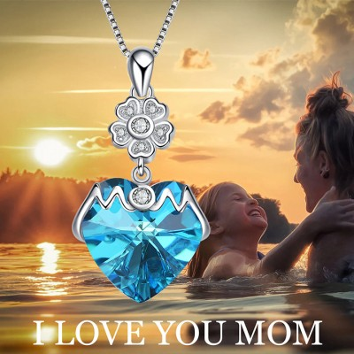 Regalo for Mom 925 Argento sterling Crystal Cuore Collana