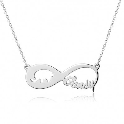 925 Argento sterling Infinito Amore Elephant Inciso Collana