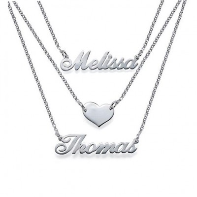 925 Argento sterling Three Layers Personalized Cuore Nome Collana