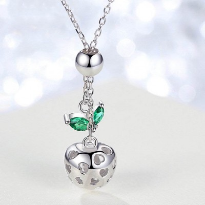 Cuore Cavo Apple Shape Sterling Collana d'argento