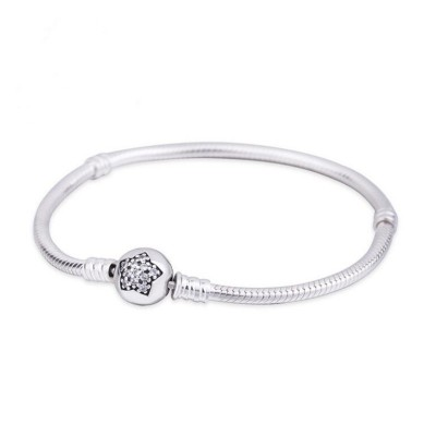 Stella Crystal Il giro Forma Clasp Bracelet Sterling Argento