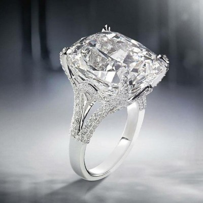 Cushion Cut White Sapphire 925 Sterling Silver Engagement Rings