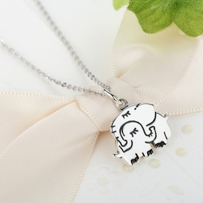 Maternal Amore Elephant 925 Sterling Collana d'argento