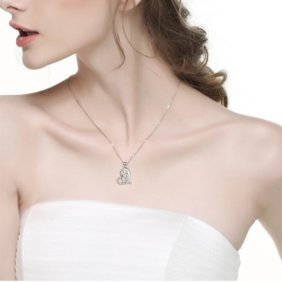 Maternal Amore 925 Argento sterling Zircon Cuore Collana