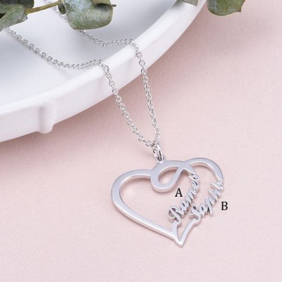 925 Argento sterling Overlapping Cuore Due Nome Collana