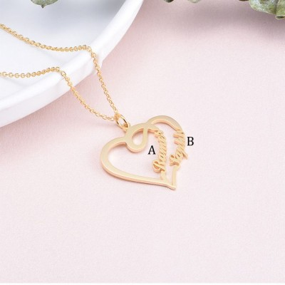 925 Argento sterling Oro Overlapping Cuore Due Nome Collana