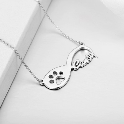 925 Argento sterling Infinito Amore Paw Inciso Collana