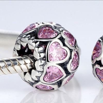 Rosa Cuores Fascino Sterling Argento