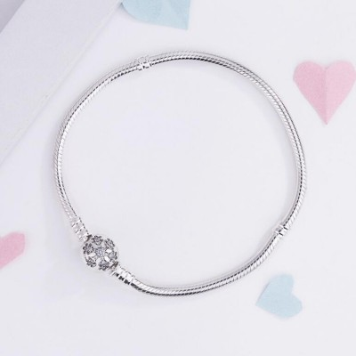 Fiocco neve Crystal Il giro Forma Clasp Bracelet Sterling Argento