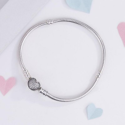 Cuore Crystal Il giro Forma Clasp Bracelet Sterling Argento