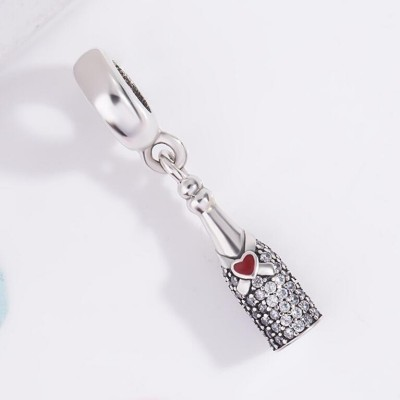 Winebottle Con Rosso Cuore Fascino Sterling Argento